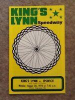 King's Lynn V Ipswich Speedway Programme 26/08/74