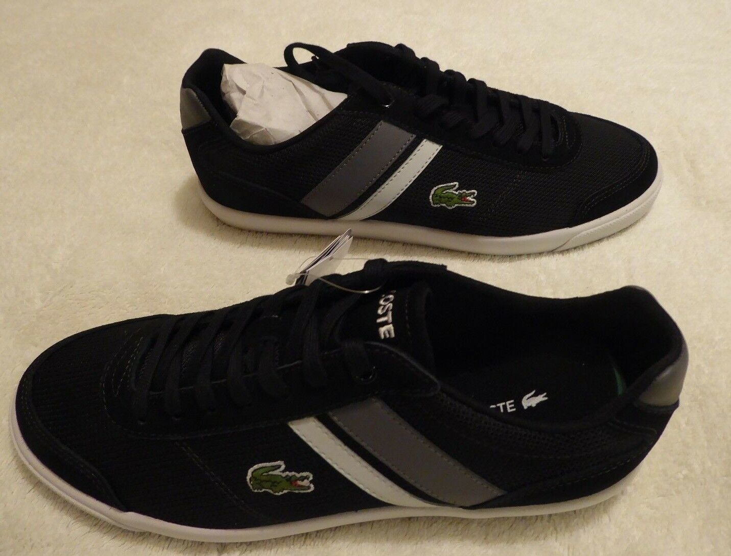 NEW BOXED MEN'S BLACK LACOSTE COMBA TRAINERS SHOES - SIZE 7 - £44.95 & FREE POST