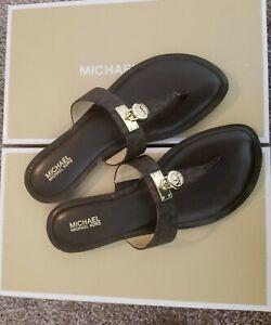 Michael-Kors-signiture-Logo-Brown-Suki-thong-Sandals-NEW-MK-PVC