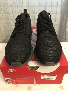separation shoes 4d33e d3083 Image is loading Nike-Flyknit-Roshe-Run-Black-Midnight-Fog-677243-