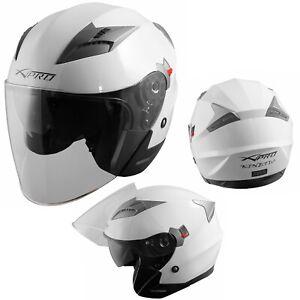 Open Face Jet Helmet Moped Motorbike Scooter Antiscratch Visor Black M