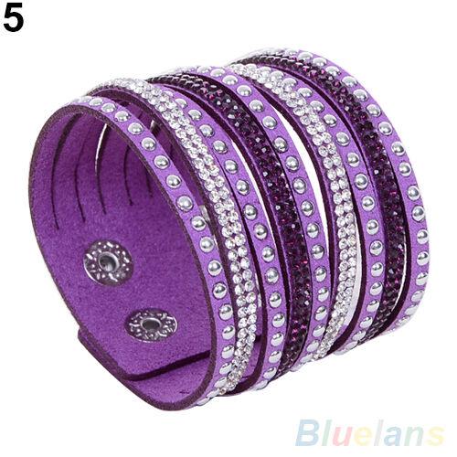Chic Casual Women Multilayer Wrap Rivet Rhinestone Suede Cuff Wristband Bracelet