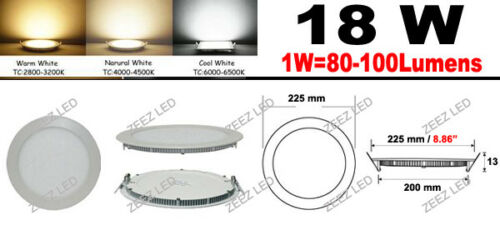 Cool White 12W Round LED Recessed Ceiling Panel Down Lights Bulb Lamp Fixture