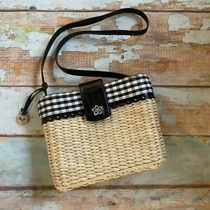 Brighton wicker rattan crossbody bag plaid check print lining black white