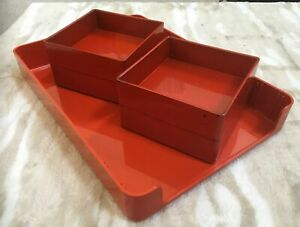 Vintage-MCM-McDonald-Products-Orange-LETTER-TRAY-And-4-Trays-Catch-All
