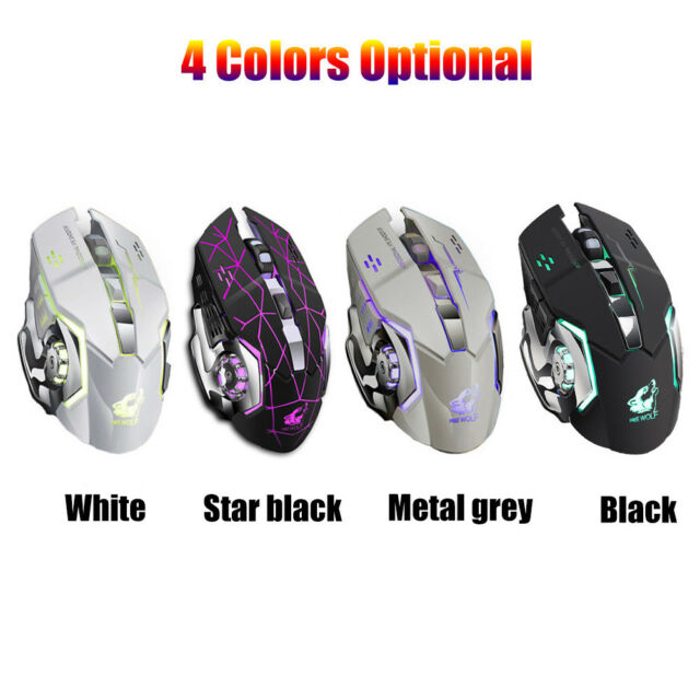 Rechargeable X8 Wireless Silent LED Backlit USB Optical Ergonomic Gaming  Mouse R