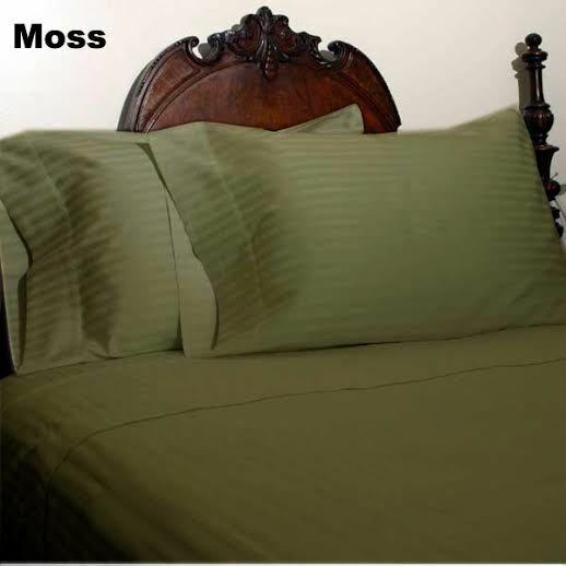 DUVET SET + FITTED SHEET MOSS STRIPED ALL SIZES 1000 TC EGYPTIAN COTTON