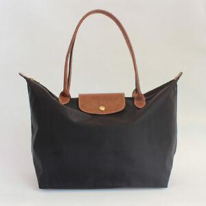Details About Auth Longchamp Classic Le Pliage Black Nylon Large Tote Bag Full Leather Strap