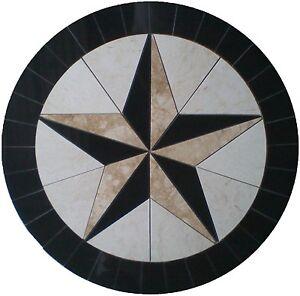 Tile Floor Medallion Marble Mosaic Compass Star Design 28