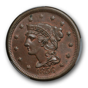 1856-1C-Slanted-5-Braided-Hair-Large-Cent-PCGS-MS-63-BN-Uncirculated