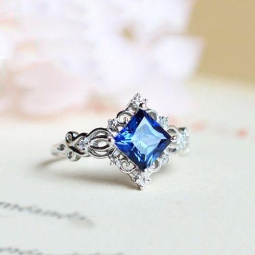 Gorgeous 925 Silver Sterling Women Men White Sapphire Wedding Engagement Rings