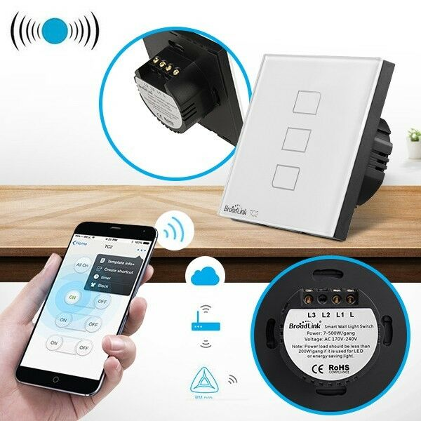Broadlink Touching 3 Loads Panel Light Switch Wireless Remote Home App EU UK US