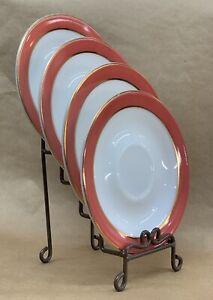 Vintage Pyrex Pink Flamingo Dinnerware Set of 4 Saucers w/22-carat Gold Bands