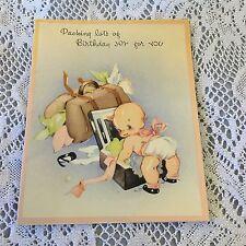 Vintage Greeting Card Birthday Luggage Baby Cute
