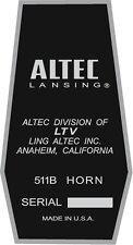 ALTEC LANSING Decal For 511B HORN. A7  VOTT set of four (4)