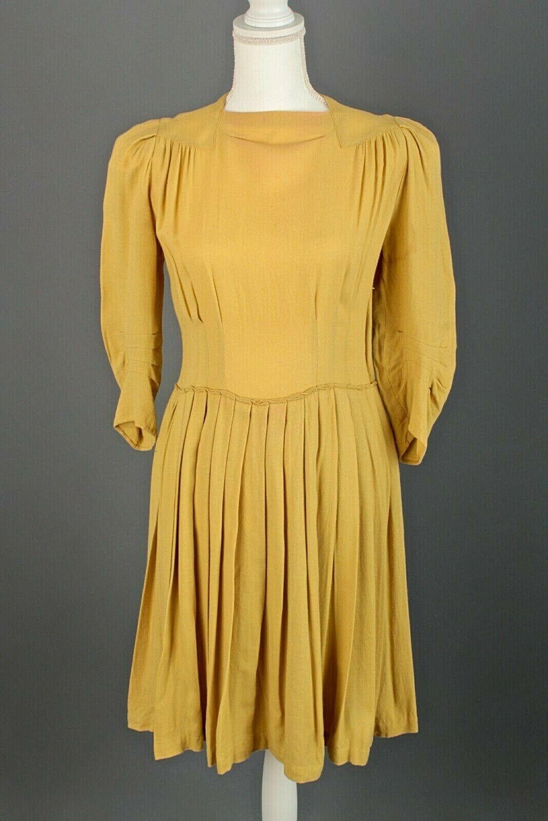 VTG Women's 40s Yellow Rayon Pleated Dress Sz M 1940s