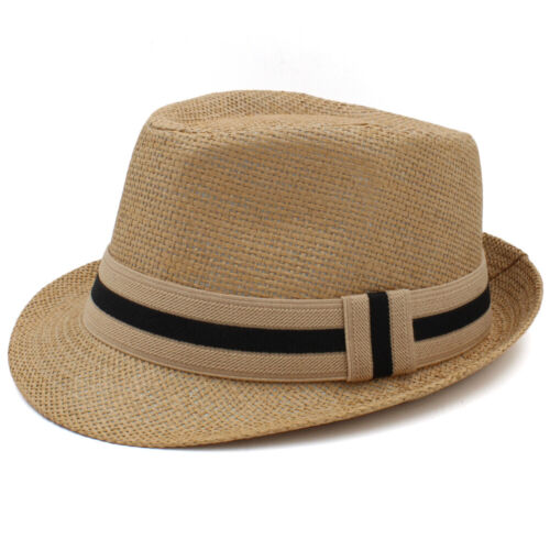 Men Women Kids Children Boys Girls Straw Fedora Hats Trilby Caps Jazz Sunhat