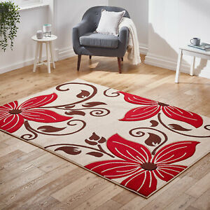 Modern-Large-Floral-Flower-Area-Low-Cost-Rugs-Thick-Beige-Red-Quality-Sale-Rugs
