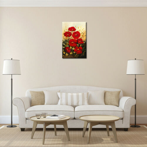 Home Wall Art Decor Red Flowers Oil Painting Canvas Art Prints Picture Poster