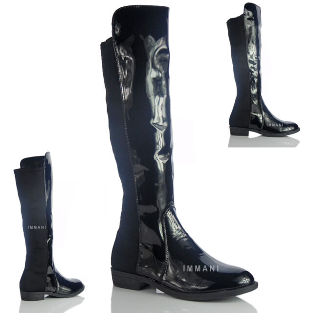 NEW WOMENS LADIES MID CALF RIDING GUEST BACK ELASTICATED QUILTED BOOTS SIZE