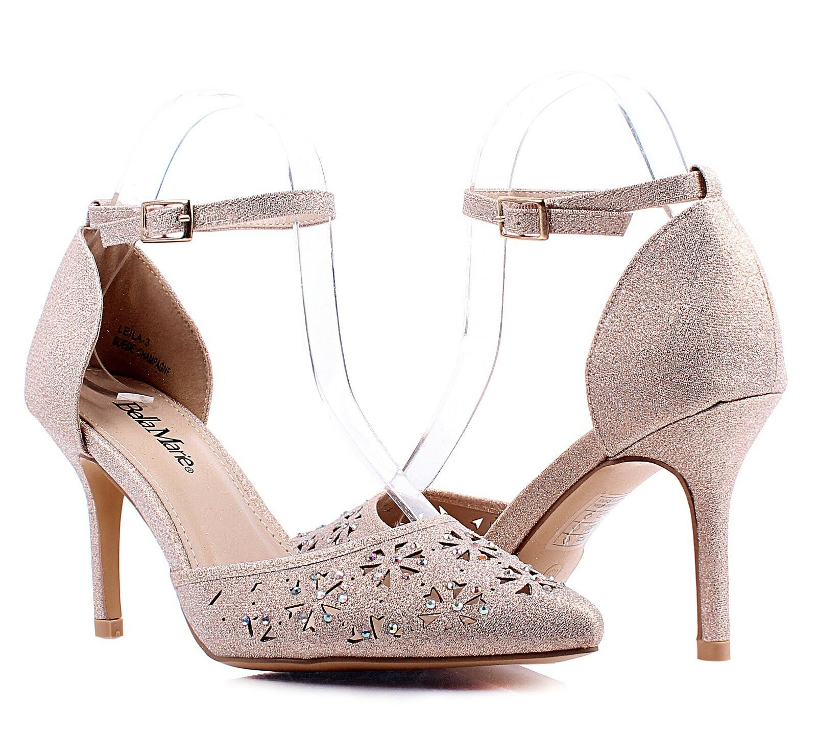 8c7a4793887 Details about Champagne Glitter Stilettos Ankle Strap Mary Janes Casual  Womens 3.5