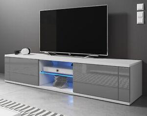 Tv Board Lowboard Hochglanz In Grau Und Weiss Unterteil Fur Flat Tv