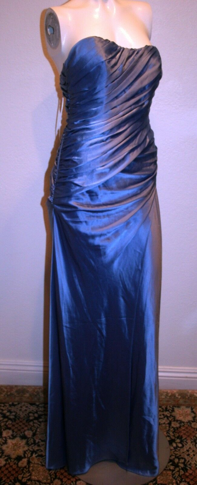 398 ABS COLLECTION FORMAL EVENING DRESS blueE STRAPLESS  EMBELLISHED PLEATS SZ 6