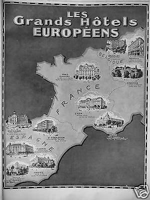PUBLICITÉ 1929 LES GRANDS HÔTELS EUROPÉENS SANTANDER MADRID SÉVILLE ST SÉBASTIEN