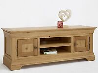 Calais Solid Oak Furniture Large Widescreen Television Cabinet Stand Unit