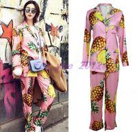 Women Fashion Pineapple Print Lapel Wide Leg Sleepwear Suits Pajamas Tops Pants