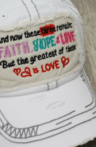 Hat NWT White Inspirational Faith Hope Love Distressed Thick Stitch Cap