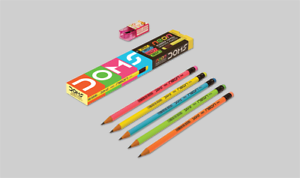 Pack of 12 NEON HB/2 Pencil Eraser Rubber Tipped HB/2 Pencils with Sharpener