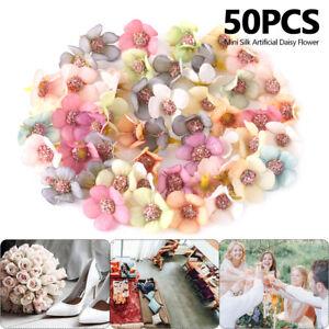 50x-Multicolor-Daisy-Flower-Head-Mini-Silk-Artificial-Flowers-Home-Party-Decor