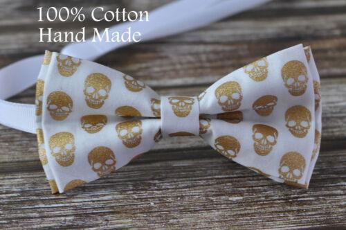 Men Women Gold Skull Skulls Pattern 100/% Cotton Punk Style White Bow Tie Bowtie