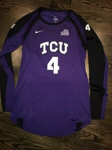 Game Worn TCU Horned Frogs Volleyball Jersey Texas Christian Nike #4 Size LT