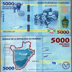 BURUNDI-5000-5-000-FRANCS-2015-P-53-WATER-BUFFALO-NEW-UNC