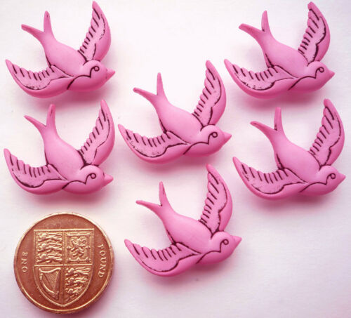 PINK SWALLOWS 6 Craft Buttons Themed Love Pet Bird Retro Kitsch Flying Valentine