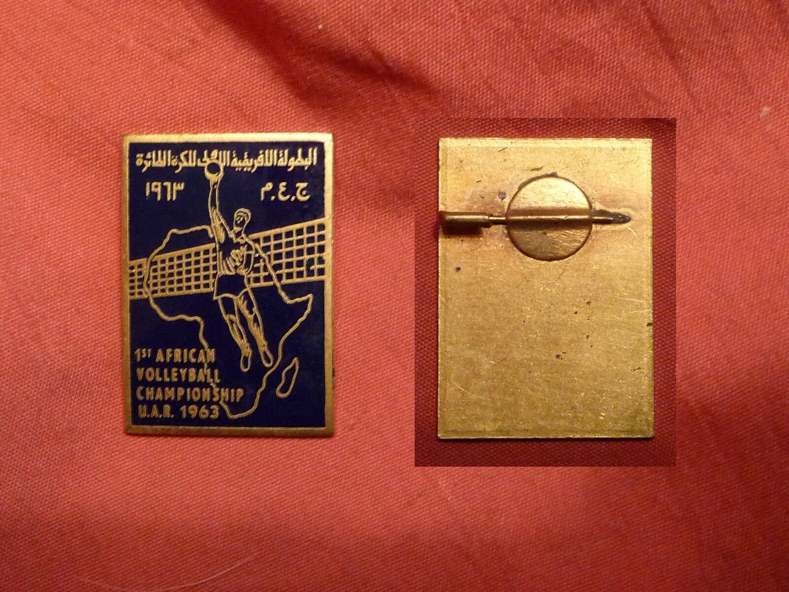 Rare enamelled badge 1st African volleyball championship u.a.r 1963, sport badge