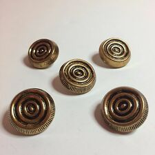 """5 Vintage Gold Tone Metal Sewing Buttons With Black Circles - 15/16"""" Round"""