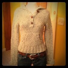 Abercrombie & Fitch Brown+Beige Chunky Knit Henley Hoodie Cropped Sweater XS