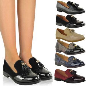a79a24979ac6a Femmes Vintage Mocassins à Glands Plat École Bureau Chaussures ...