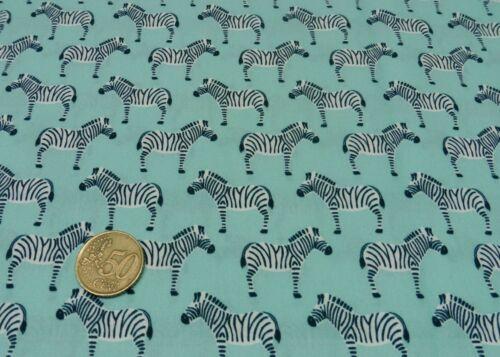 Tropic Zebra aqua Baumwolle Popeline Webware Hilco Kinderstoff 25 cm
