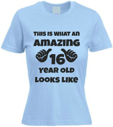 THIS IS WHAT AN AMAZING 16 YEAR OLD.. T-SHIRT Sixteenth Birthday Gift Cotton