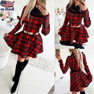 Women-039-s-Long-Sleeve-Plaid-Mini-Dress-Ladies-Lace-Christmas-Slim-Fit-Swing-Dress