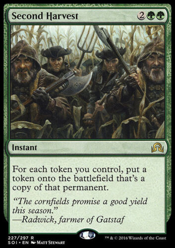 Instant Rare SECOND HARVEST NM mtg Shadows Over Innistrad Green