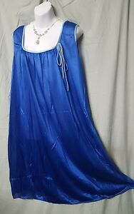 Only-Necessities-Royal-Blue-Nightgown-Calf-Sleeveless-Plus-Size-1X-56-034-BUST