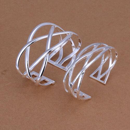 Hot wholesale sterling solid silver mesh 2 Bracelet Jonc Bijoux Sets XLSS 259