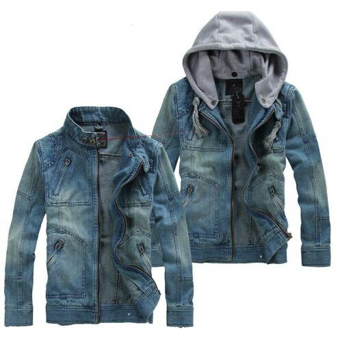 Men Fashion Business Casual Large Size Denim Jacket Hat Detachable Cotton Zipper