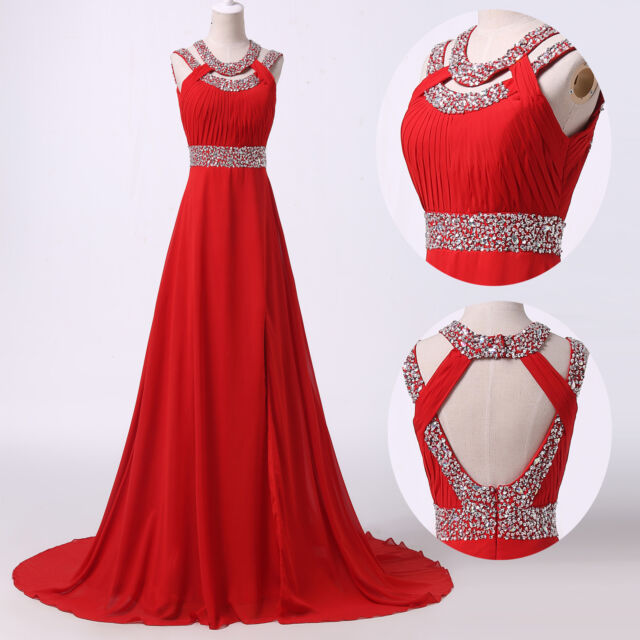 Formal Long Chiffon Cocktail Ball Evening Gown Bridesmaid Party Prom Beads Dress