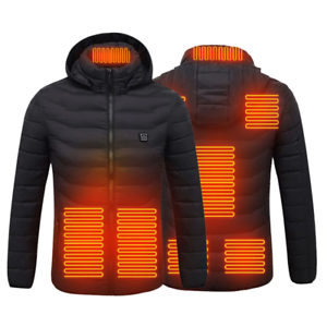 Washable Electric Heated Jacket for Man//Woman 8 Heating Zones Waterproof Hoodie Heating Coat with 3 Temperature Levels Adjustable Warm Electric Heating Jacket Suitable for Outdoor Sports